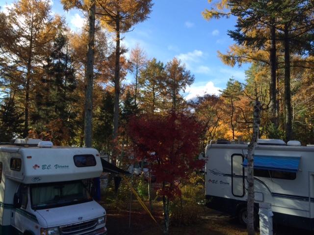 翌朝には紅葉の間から富士山も!